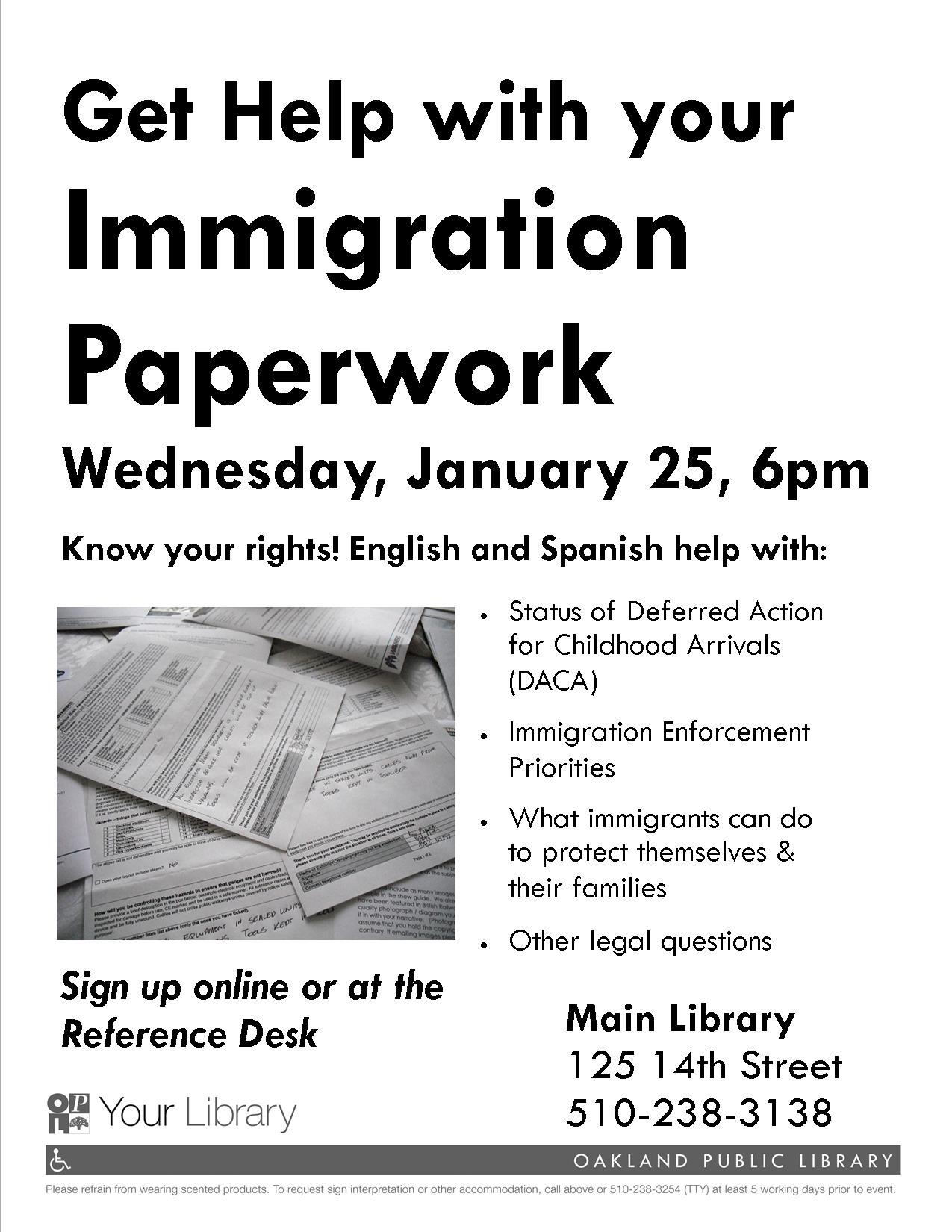 Immigration Paperwork Help And Legal Clinic At Oakland Public - Help with legal paperwork