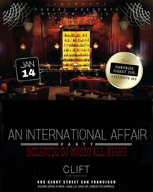 The international affair at the redwood room sat jan 14th clift hotel at clift hotel for Redwood room live music schedule