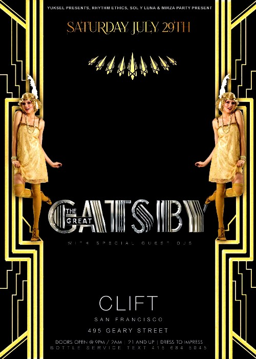 The great gatsby theme party at the redwood room live violin djs free giveaways at the for Redwood room live music schedule