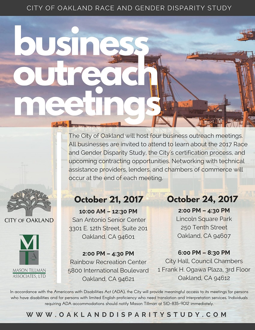 City of Oakland Business Outreach Meetings at Rainbow Recreation