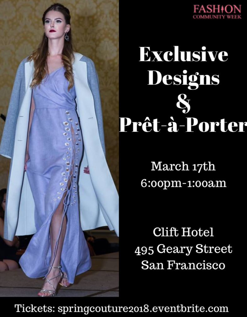 Fashion Community Week Exclusive Designs And Pret A Porter Show At The Redwood Room Clift Hotel In San Francisco March 17 2018 Sf Station