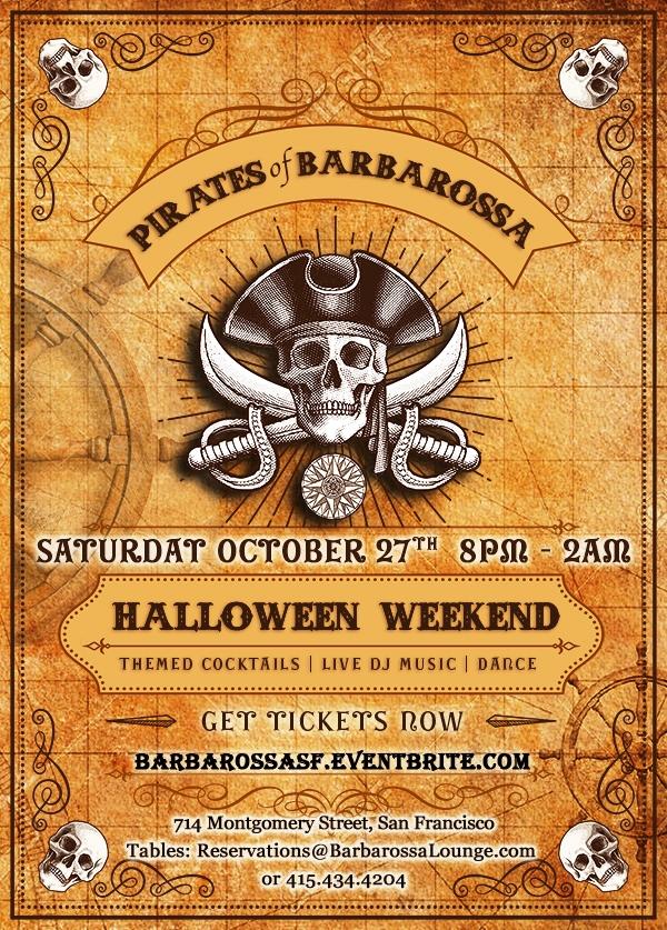 Pirates of Barbarossa Halloween Party - 2 Stories - Live DJs