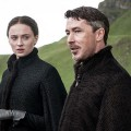 Sophie Turner as Sansa Stark and Aidan Gillen as Littlefinger.Photo Credit: Helen Sloan/HBO