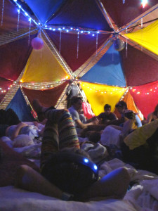 Inside the pillow dome, one of the party's chill zones