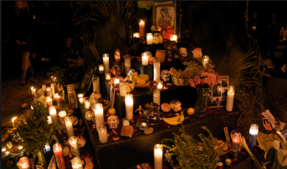 Photo of 2014 altar at Garfield Park (courtesy of Dia de los Muertos: Day of the Dead SF Facebook page)