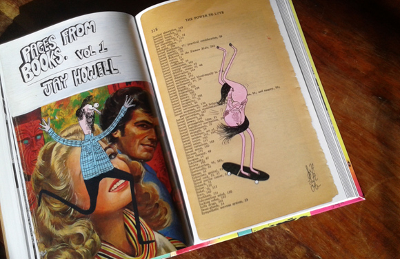 """Jay Howell sketches over pages of used books in """"Punks Git Cut"""""""