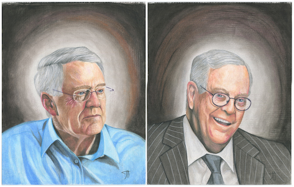 CEO & VP of Koch Industries portrait by Joseph Acker, made with soft oil pastels