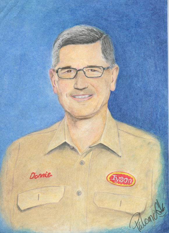 CEO of Tyson Foods by Benny Joe Palomo, colored pencil on paper