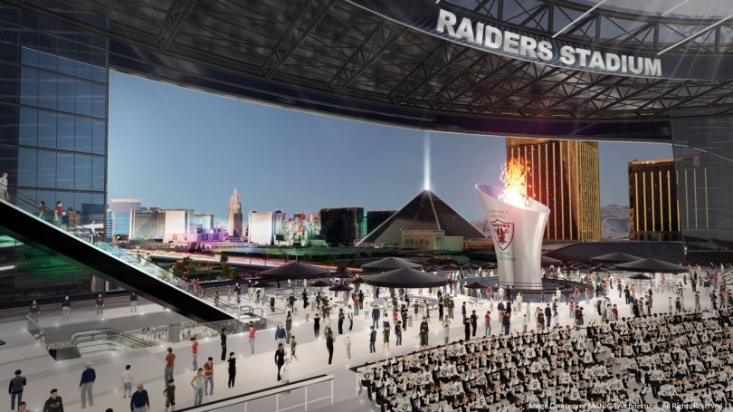 Artist rendering of a new Las Vegas Raiders stadium. (Courtesy of Manica Architecture)