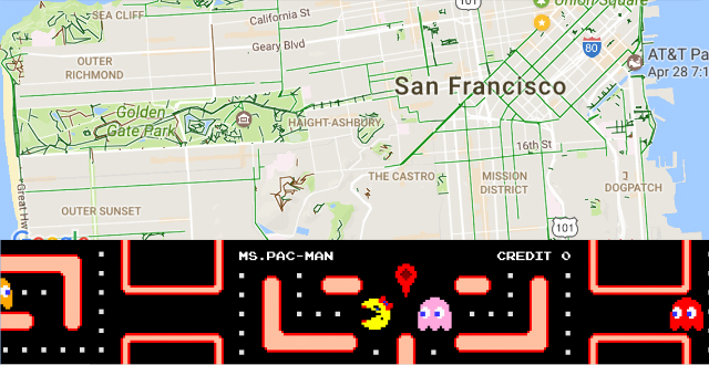Google Maps Goes All 'Ms. Pac Man' For April Fools' Day