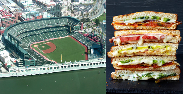 (Left) Outside AT&T Park, Wikipedia, (Right) American Grilled Cheese Kitchen