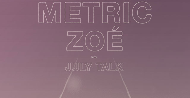 Win Tickets to Metric + Zoe with July Talk at The Masonic on March 13